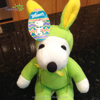Peanuts Snoopy Plush Green Rabbit Bunny Outfit Yellow Ears Whitmans
