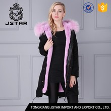 Winter unique design faux fur hooded coat with fur