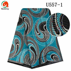 Queency Custom Colorful Stones Decoration Wholesale African Nigeria Wax Block Print Fabric