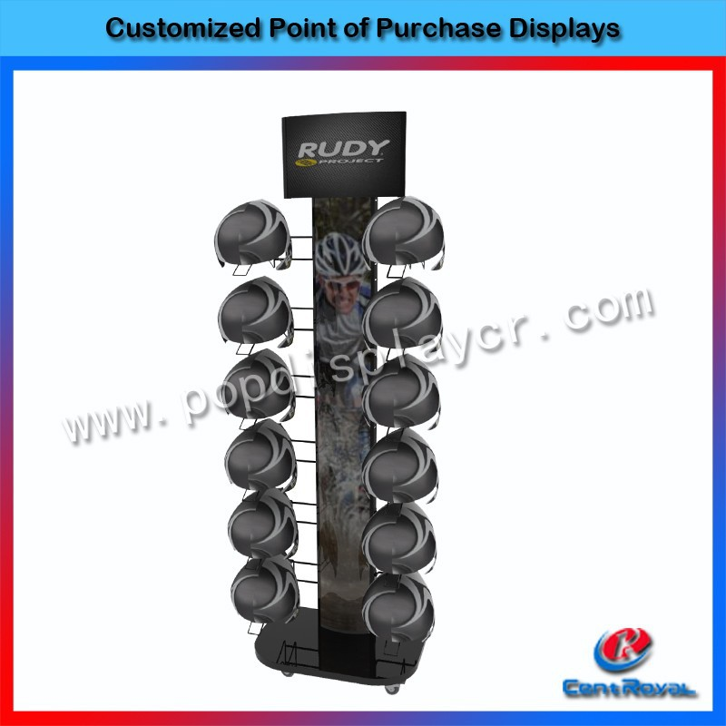 High quality free standing metal helmet display stand