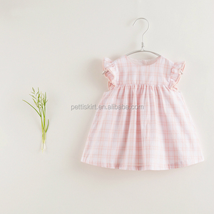 High Quality Cotton Lattice Frock French Stylish Pink Grids Flutter Sleeve Girls Dresses
