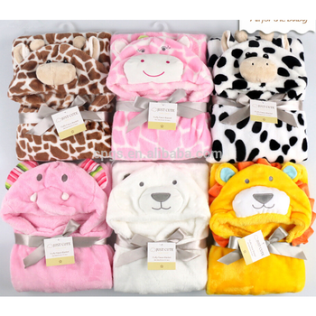 China factory sale soft solid and printed coral fleece animal hood baby swaddle blanket