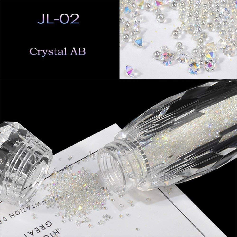 Mezerdoo 1 Bottle Mix Mini Crystal Tiny Glass Caviar Beads Nail Art Decorations Colorful 3D Micro Elf Bead Glitter Rhinestones for Nails Beauty (JL- 02 crystal AB)