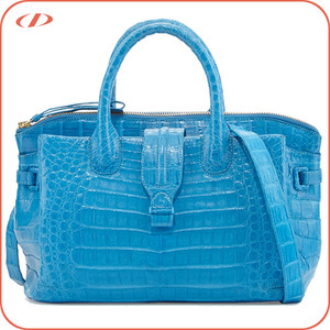 Elegant women exotic crocodile skin leather tote bag