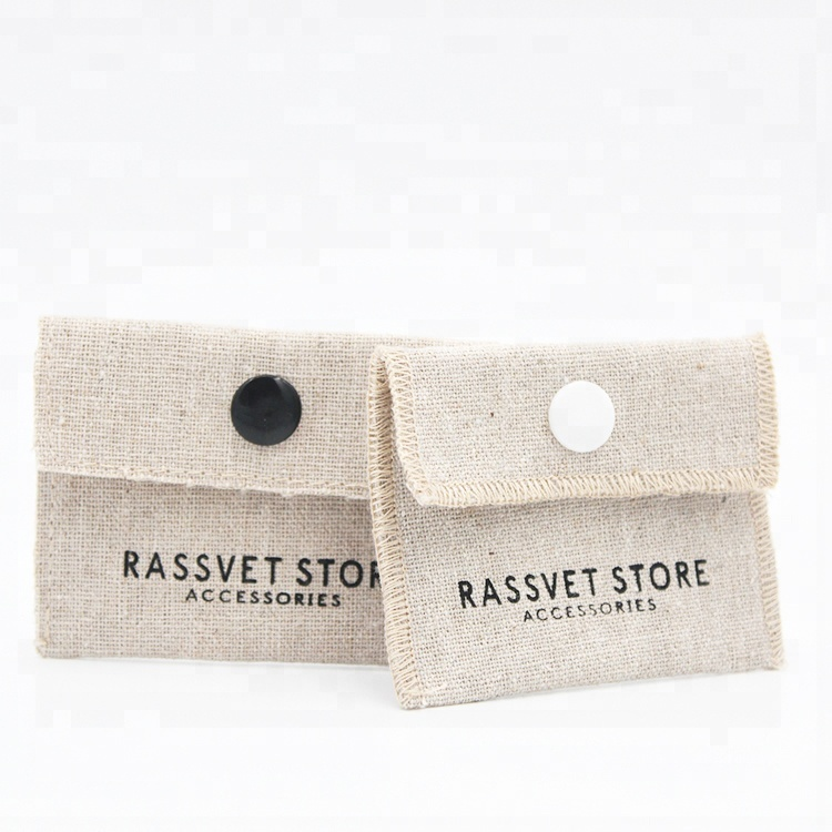 High quality custom logo envelope flap linen jewelry pouch with button closure
