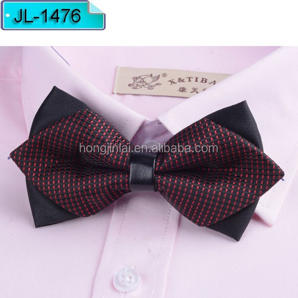 Red and black plaid Micro fiber arrow baby bow ties JL1476