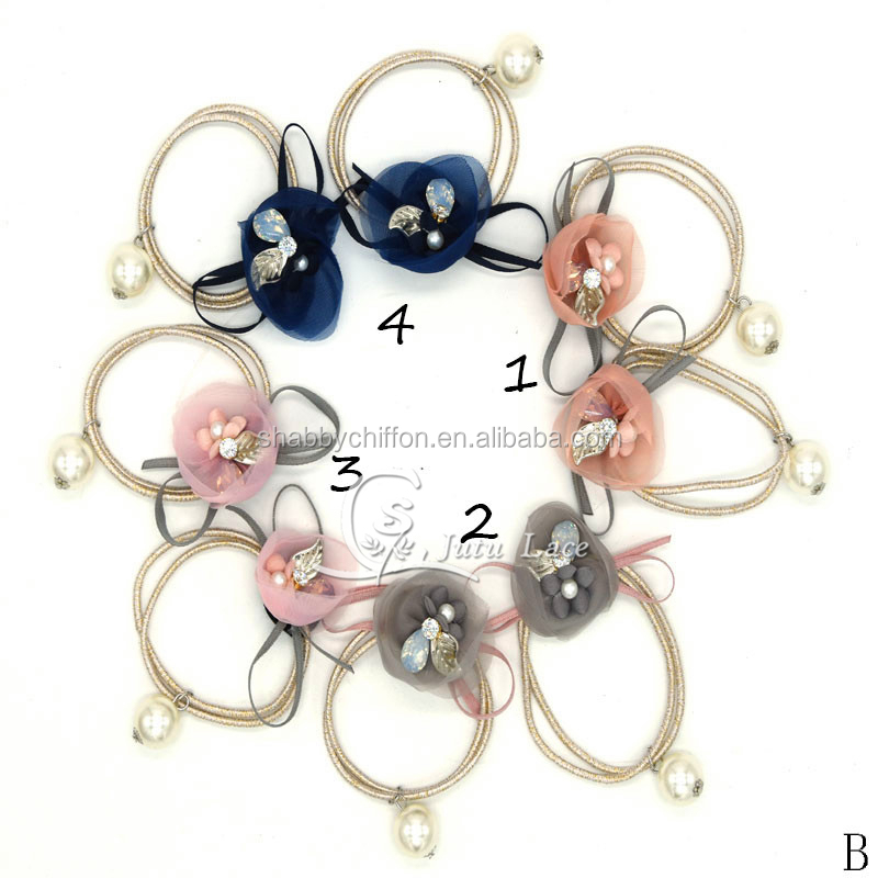 Fancy golden hair ties - crystal rhinestone center elastic hair band -  handmade fabric flower with beads kids accessories 8304663d61e