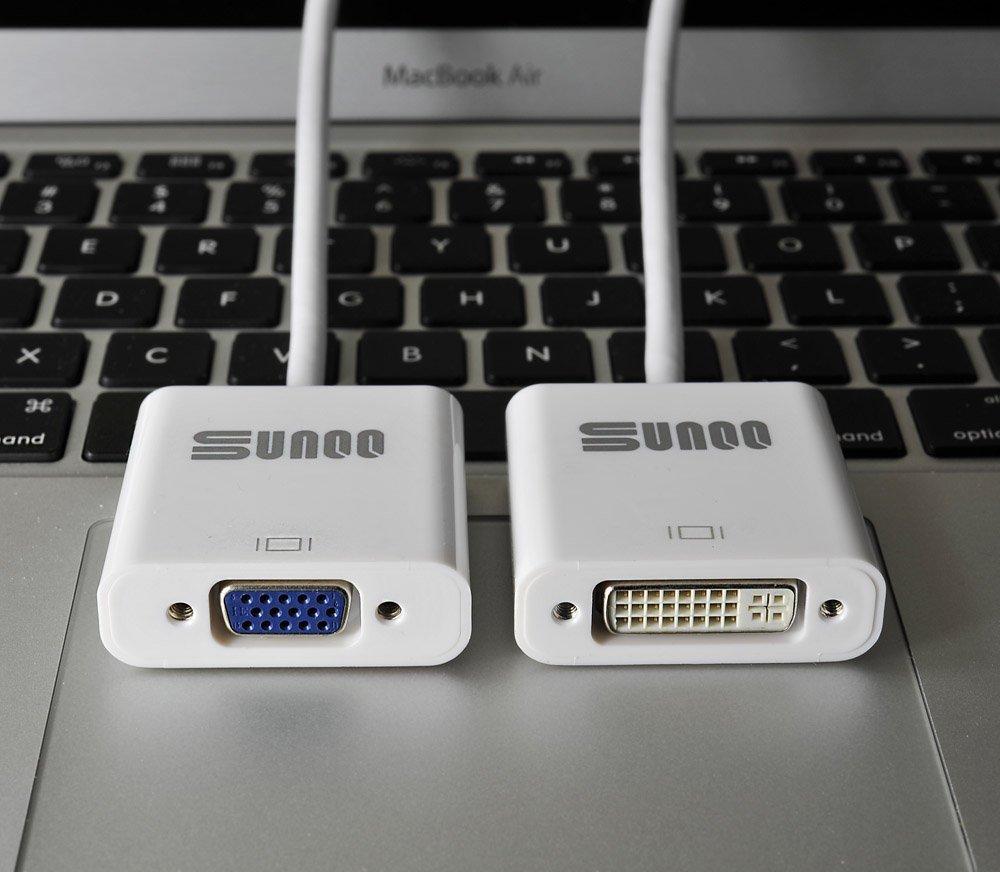 SUNQQ Bundle - Premium Mini DisplayPort (Mini DP) (Thunderbolt) to VGA + Mini DisplayPort (Mini DP) (Thunderbolt) to DVI Cable