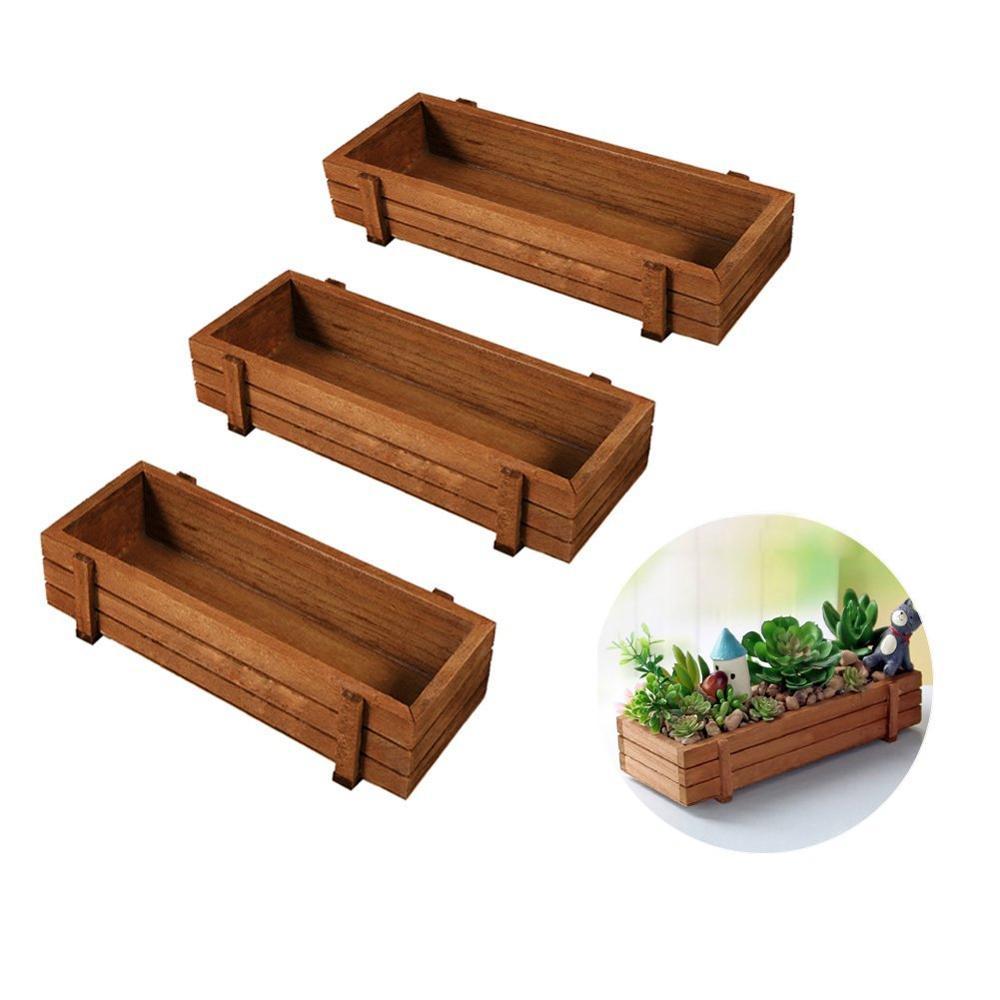Wooden Plant Seeds Box 3pcs Indoor Outdoor Windowsill Kitchen