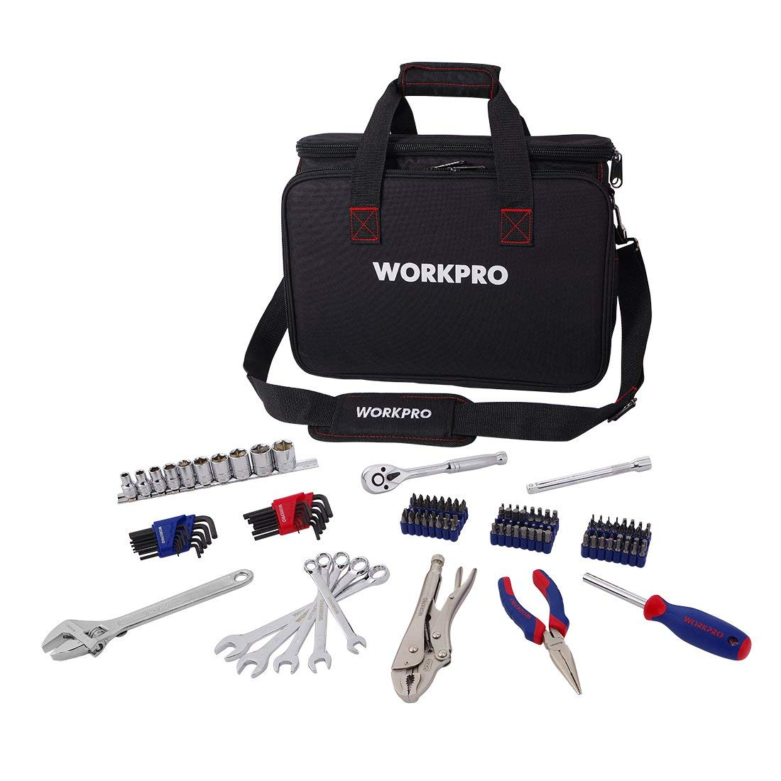 WORKPRO Tool Set, 143-piece Home Repair Tool Kit in Heavy Duty Contractor Tool Bag with Adjustable Shoulder Strap
