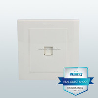 Wenzhou supplier pc made pure white wall electric telephone socket outlet