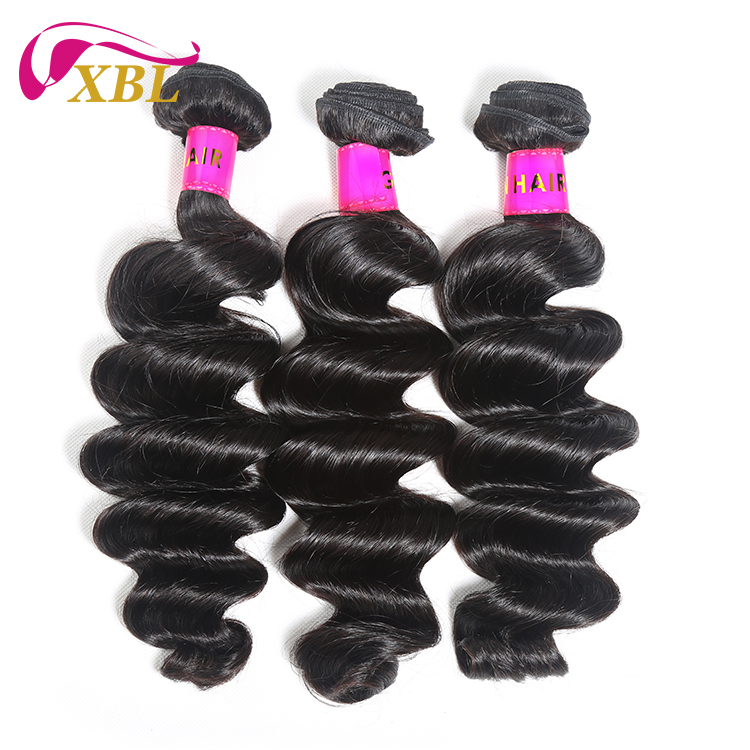 Free Shipping Loose Wave Human Hair Weave Bundle 1/3 Piece 10-26 Inch Natural Black Human Hair Extension