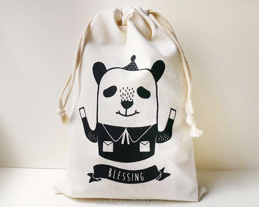 China New Style Promotional Oem 100cotton Pouch Recyclable Drawstring Bag Panda With Custom Logo