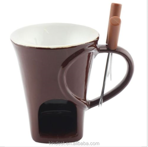 wholesale 3 Sets Ceramic Fondue Chocolate Mug Each With Forks Chocolate Fondue Set