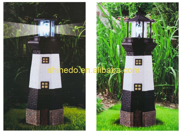 Solar Lighthouse Light With Rotating Beacon For Garden