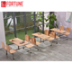 Canteen furniture connecting table chair set for 4 seats