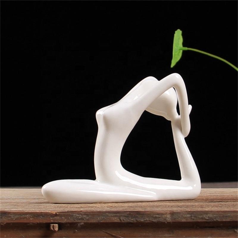 12 Styles White Ceramic Yoga Figurines Ename Yoga Miniatures Abstract Yog Stattues Yoj Figurines Vintage Home Decor