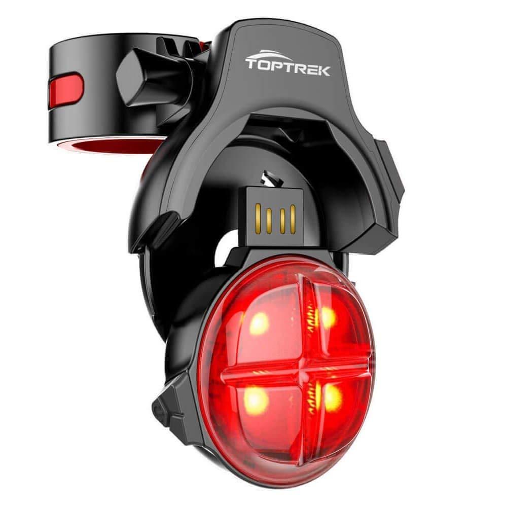 TOPTREK Bike Tail Light Smart Brake Warning Bicycle Tail Light Wireless USB Rechargeable Bike Rear Light with 5 Lighting Modes Waterproof LED Safety Bike Light Fits Road/Mountain Bike