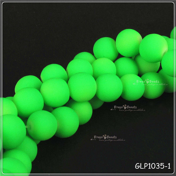 Green Neon Round Loose Glass Beads 12mm Round