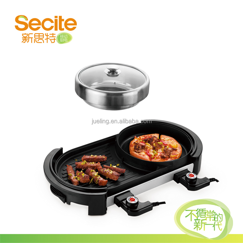 Double Temperature System Electric Hot Pot Grill Plate