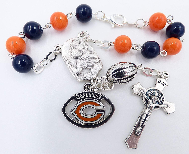 Single Decade St. Christopher Sports Team Auto Rosary - Chicago Pro Football Catholic Rosary Beads