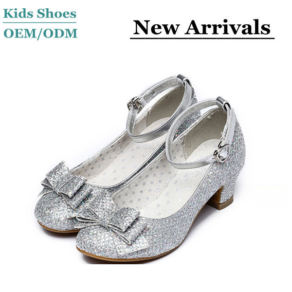 b0892b663db2 Children s classic design silver color high heel dress shoes fashion girls  party wear high heel shoes
