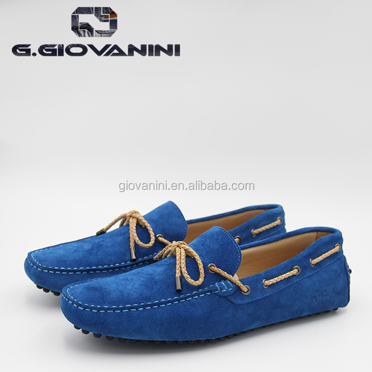 2017 lace up deep blue cow suede loafers for men G.GIOVANINI Handmade casaul shoes luxury and durable Italian driving shoes