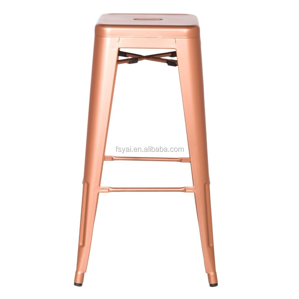 leather seat cheap kitchen retail vintage metal industrial bar stool, rose gold metal bar stool