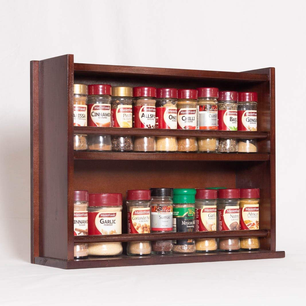 Spice Rack - Wooden - Closed Top - 2 Tiers - Timber Dowel - 36 Spice Jars