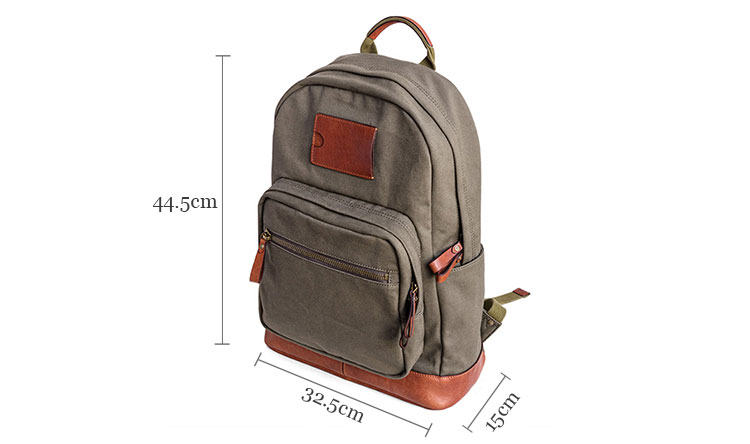 Custom wholesale personalized vintage canvas laptop rucksack school backpack