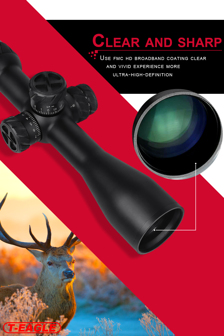 Wholesale T-EAGLE IMAX ED 2-16x44 SFIR For PCP Air gun Riflescope Tactical Rifles Scope Light Red Green hunting optics sight