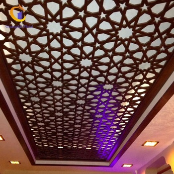 Modern professional custom design stainless steel laser cutting hollow suspension ceiling.