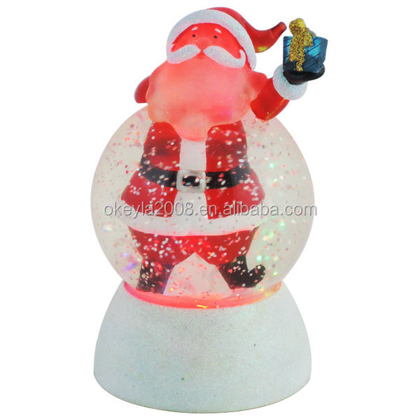 Santa Claus Swirling Snow Globe Glitter Dome With Color Changing Led Light