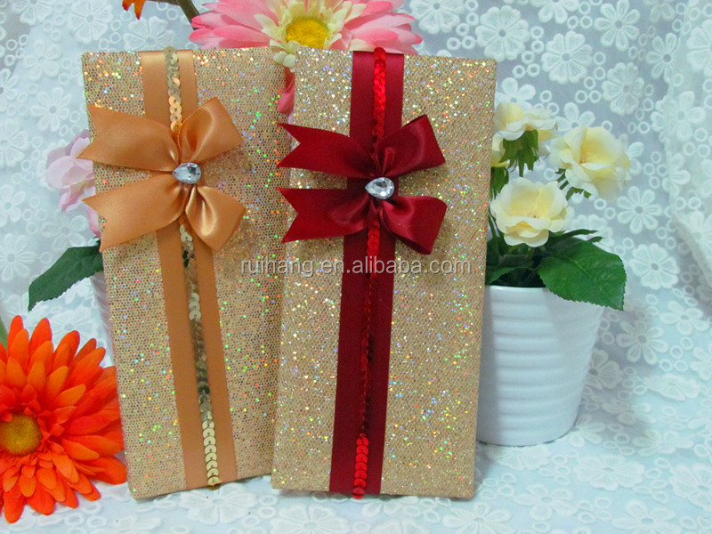 Luxurious Wedding Invitation Wedding Gift With Crystal And Ribbon