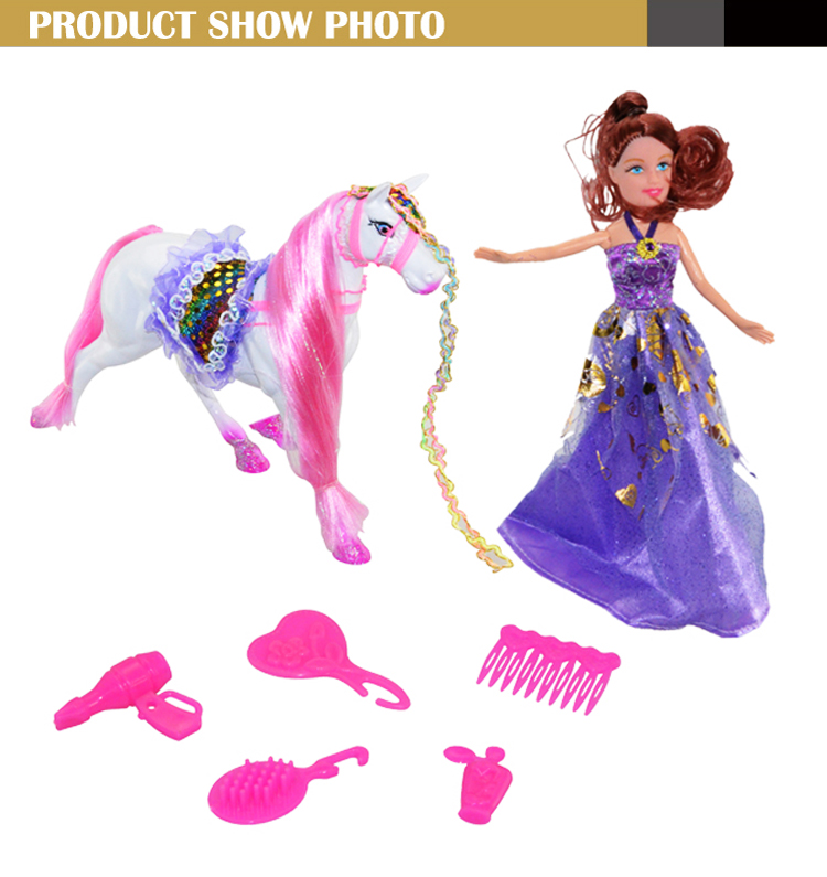 Girls lovely kid toy <strong>doll</strong> with horse