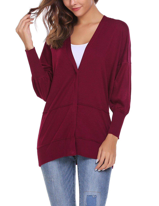 32e4d97cf9 Get Quotations · Zeagoo Women Button Down Chunky Sweater Long Dolman Sleeve  V Neck Knit Cardigan