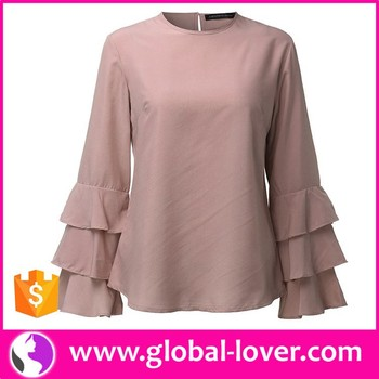 Plain Color Blouse Design Patterns Back Neck Blouse Collar Neck