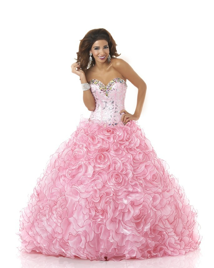 3dff29f1e56 Buy Baby Pink Quinceanera Dresses Ball Gown Debutante Gown Beading with  Lace Top Vestido De 15 Anos Custom Made Organza Ruffles PF50 in Cheap Price  on ...