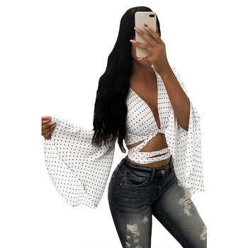White Polka Dot Flare Sleeve  Bandage Blusas Ropa Mujer Flare Sleeve Sexy Women Shirt Top