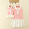 women casual dresse pink dress cotton sweet mom and me dresses kids clothes