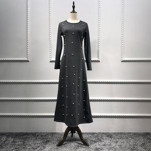 Muslim Render Long Dress With White Pearl Women Clothing Knitted Cotton Pretty Beaded Dress