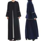 fashionable 100% Polyester muslim abaya dubai long sleeve open abayas with pearl