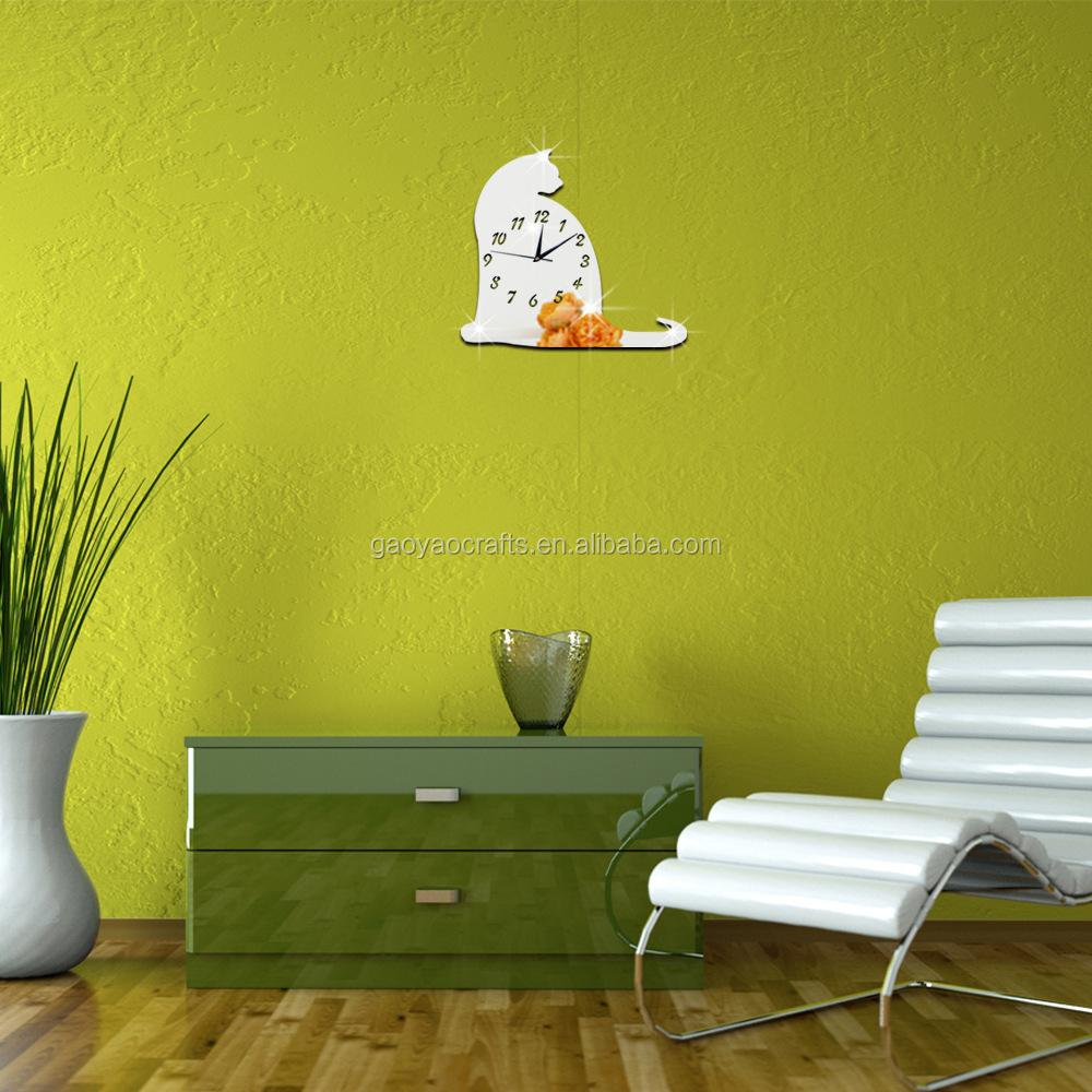 Custom Acrylic Big Cat Mirror Fashion Wall Clock Diy High Quality ...