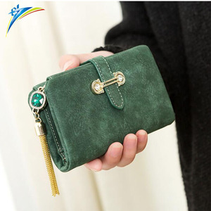 Retro Nubuck Leather Female Fashion Zipper Small Wallet Short Coin Purse Holders portfolio