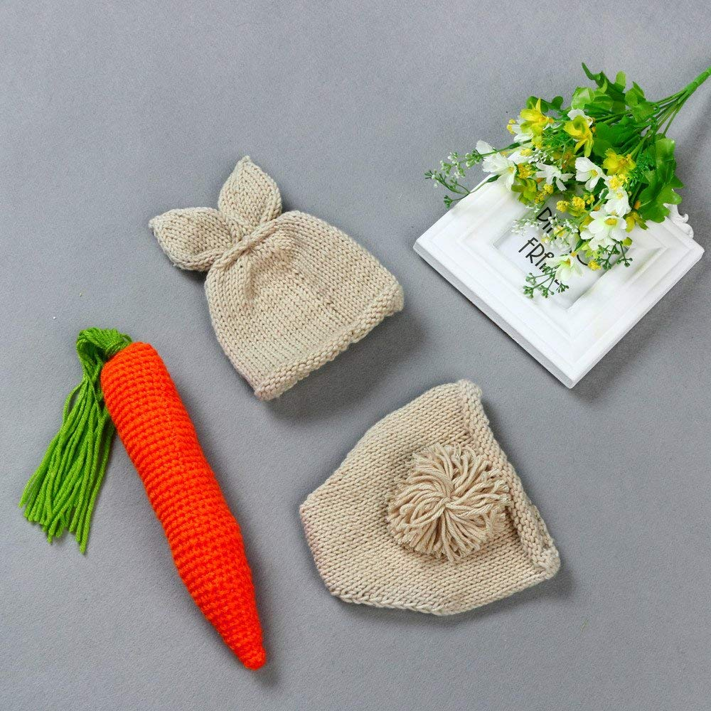 Jshuang Cartoon Suit for 0-6 Mouth Kids,Girls,Boys ,Childrens Vintage Style Baby Hat + Shorts + Carrot Photography Props,Soft, Cute, Fashionable (Beige)