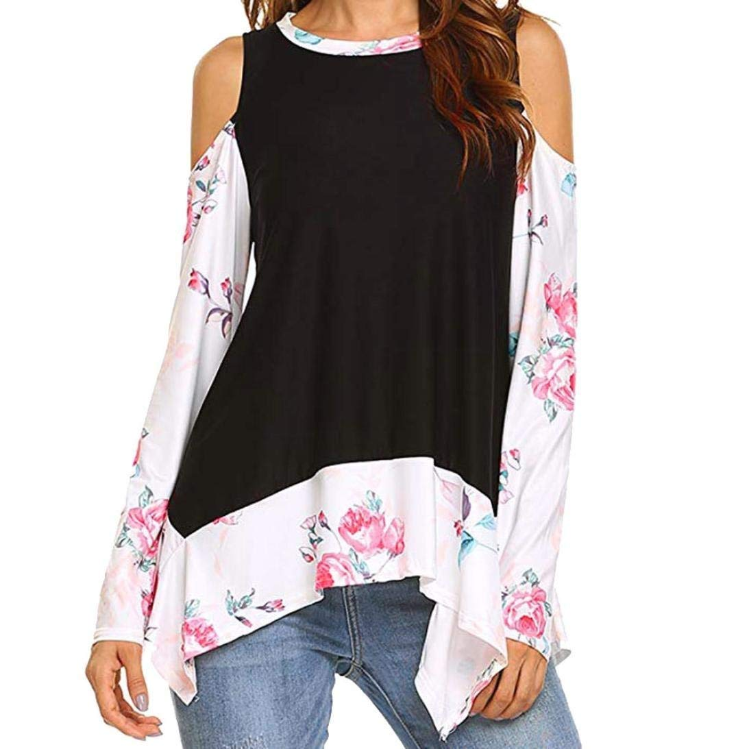 Scaling ♥T Shirts for Women♥Tops for Women Womens Floral Prints Long Sleeve Cold Shoulder Tunics T-Shirt Blouse Tops