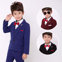 CNX51 New 4 pcs set with tie Kids Clothes boy suit black for Weddings Children Formal Suits boy baby clothes