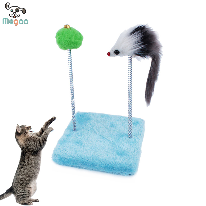 New Pet Cat Toys Scratching Pad Funny Cats Stick Jumping Tree Column Spring Double Mouse Plush Cat Toys