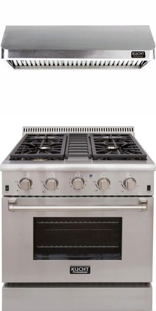 "Kucht Professional Series 2-Piece Stainless Steel Kitchen Package with KRG3080ULP 30"" Liquid Propane Gas Range and KRH3002U 30"" Push Button Control Hood"