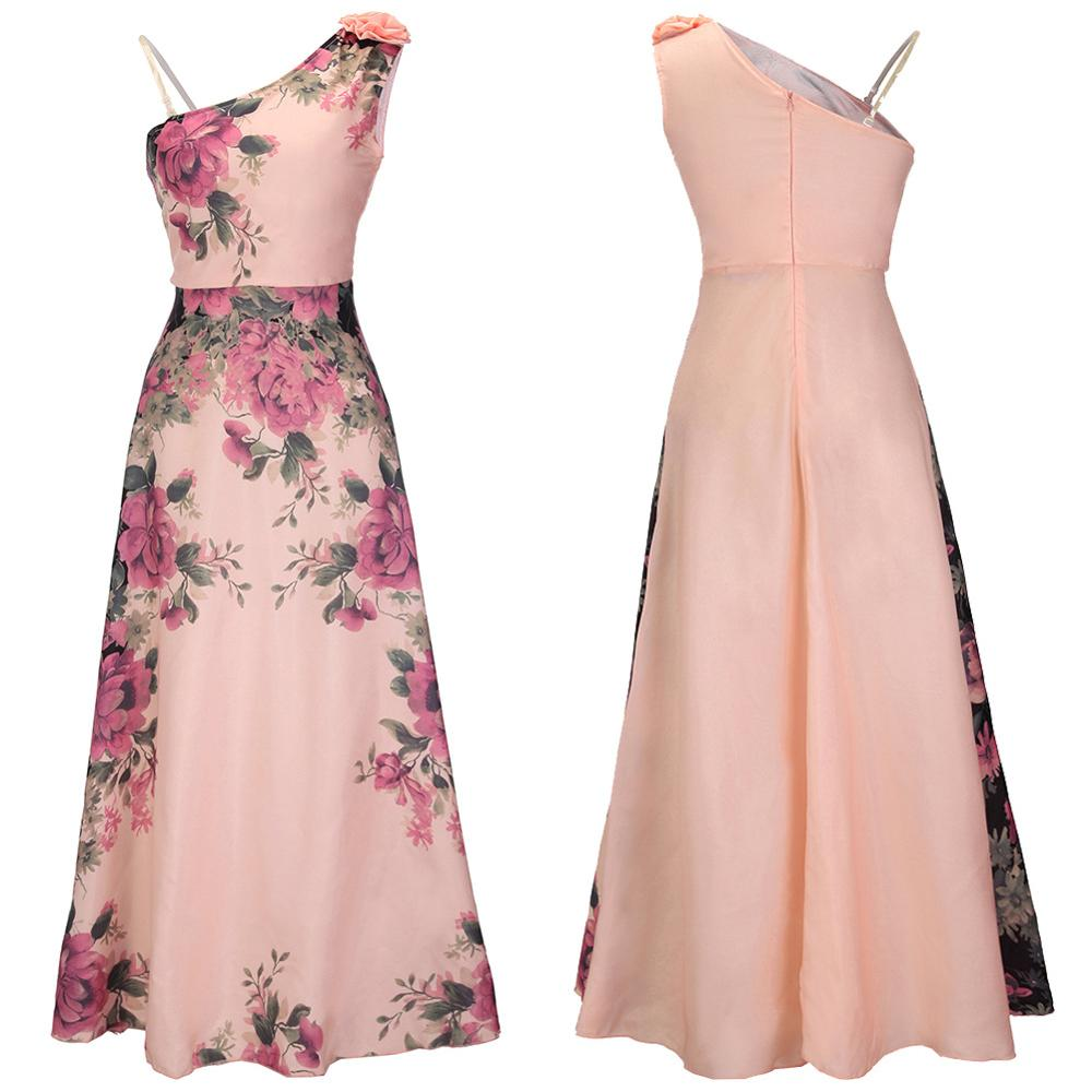 Ocasión formal prom falda dama oblicua collar Peony flor imprimir ...